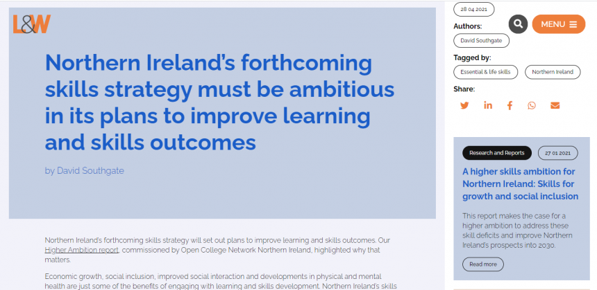 Recommendations for the new Skills Strategy from Learning & Work Institute